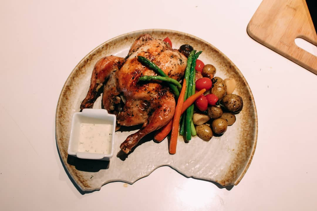 -Baked chicken – Saute vege, baked potato , butter dill sauce versi 2Simple dish dinner for Ch…
