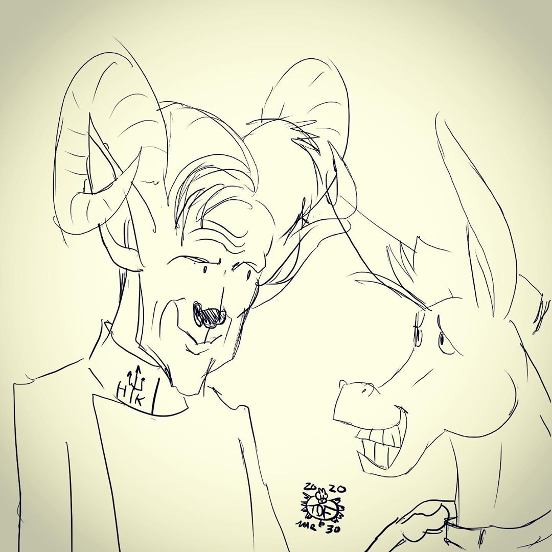 Sketching Chef Gordon Ramsay with one of his Hells Kitchen Donkeys