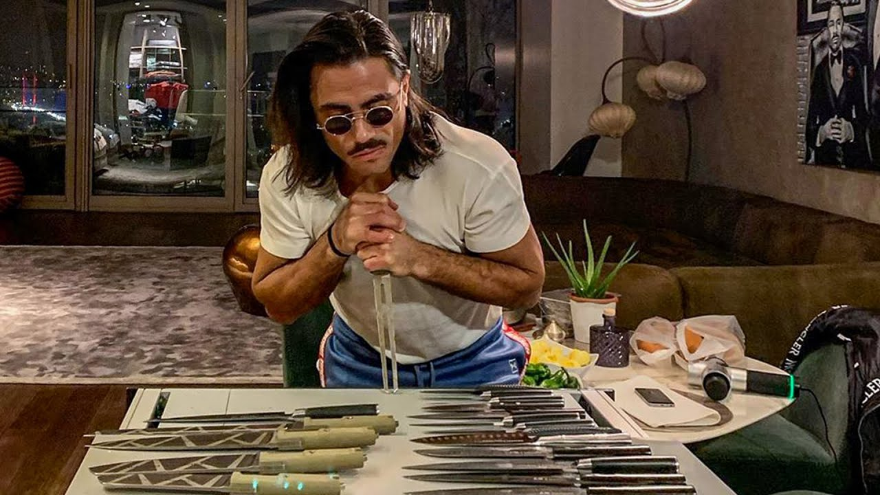 Salt Bae Acrobatic Meat Cutting Skills Amazing