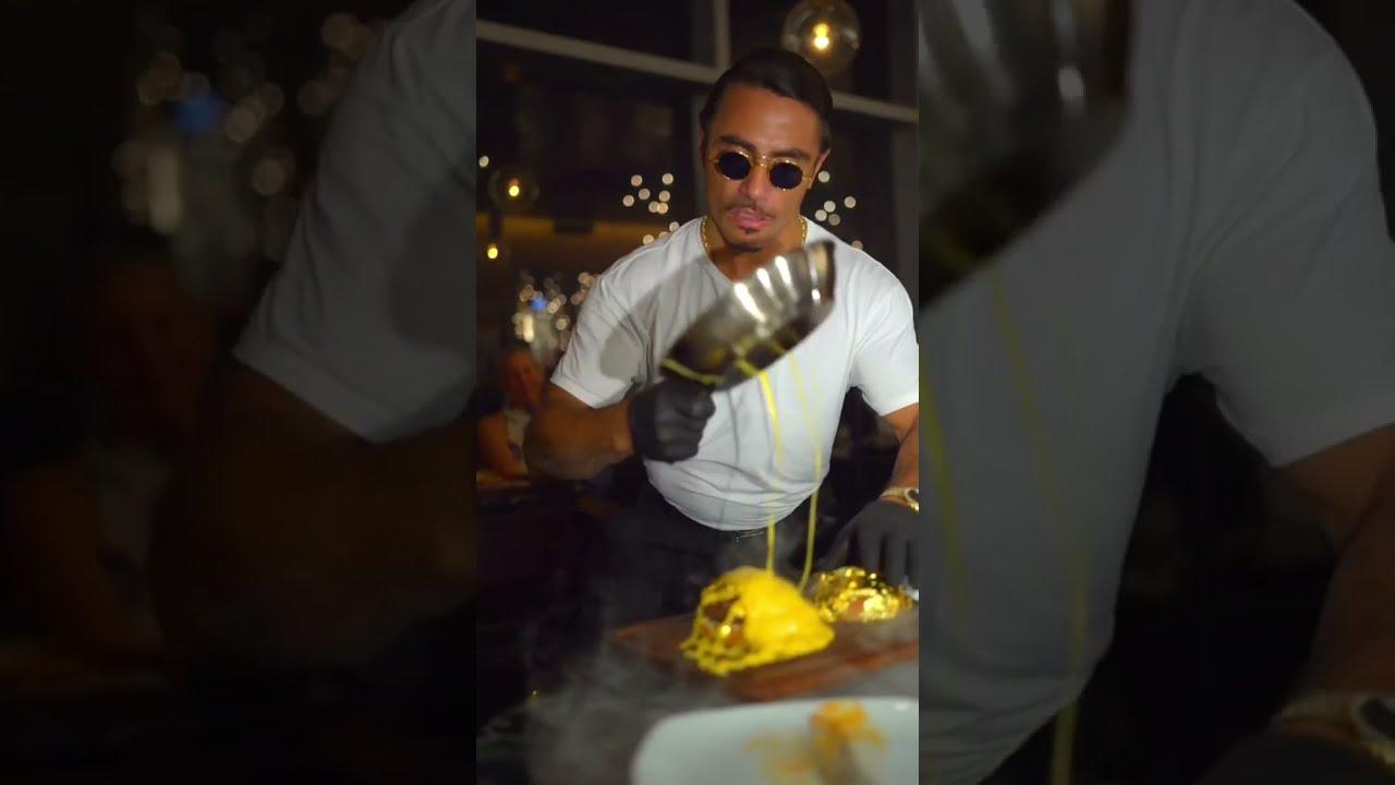 saltbae Gold Burger meat king Turkish delicious food. nusret Instagram video